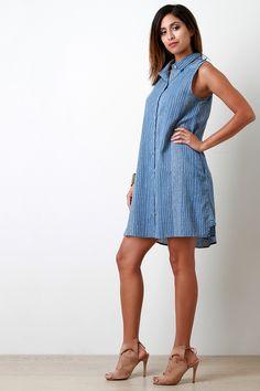 Woven Pinstripe Button Down Shirt Dress