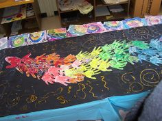 Make blk background bulletin. When a student finished project early they can design a handprint to add to the mural Back To School Art, Art School, School Stuff, Classroom Displays, Art Classroom, Chinese New Year, Chinese Art, Group Art Projects, School Projects