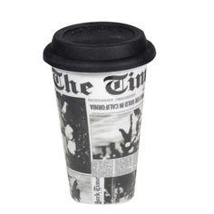 Caneca com tampa de silicone jornal - R$32,90