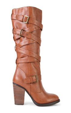 Deb Shops Tall Stacked Block Heel Boot with Buckle Straps $27.90