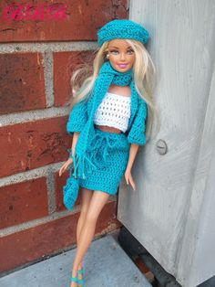 Crochet Barbie Outfit - Cropped Tank, Drawstring Skirt, & Winter Accessories. $25.00, via Etsy.
