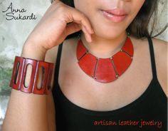 Leather Bib Necklace and Wide Rectangle Leather Cuff in vibrant tangerine. Leather Cuffs, Leather Jewelry, Collar Designs, Leather Working, Anna, Artisan, Chokers, Jewelry Design, Vibrant