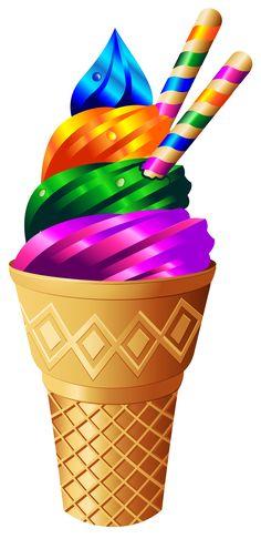 Transparent Rainbow Ice Cream PNG Image
