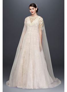 Long Tulle Cape with Metallic Floral Appliques OW2104