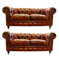 small leather chesterfield sofa pair, love the smoke lounge look