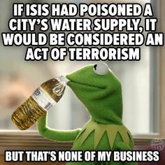 I Isis had poisoned a city's water supply, it would be considered an act of terrorism, but that's not of my business Kermit Ben Carson, Troll, Flint Michigan, Michigan City, Political Satire, We Are The World, Water Supply, Stand Up, At Least