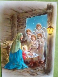 Lotto Di 4 Cartoline Buon Natale/ Buon Anno Christmas Nativity, Christmas Cards, San Mateo California, Santa Socks, Catholic Religion, Nativity Scenes, Holy Mary, Guardian Angels, Holy Night