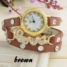 Bracelet brown leather strap rhinestones love girl watch