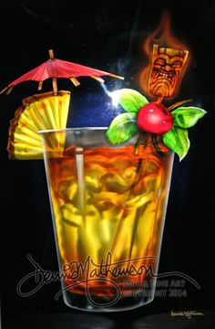Hawaiian Mai Tai artwork on metal by Hawaii artist Dennis Mathewson http://cosmicairbrush.com