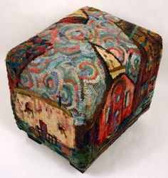 """""""All the Places I Have Lived"""" hand hooked foot stool by Kim Nixon"""