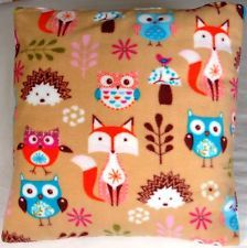 Cushion Cover 17x17ins Double Sided, Fleece Material, owls, foxes and hedgehogs!