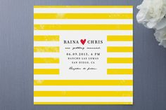 Darling Wedding Invitation - Simple - Bold Yellow Stripes via Minted