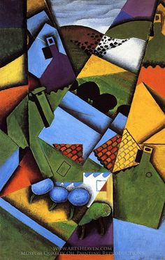 Juan Gris Landscape with Houses in Ceret Painting Reproduction Art On Canvas