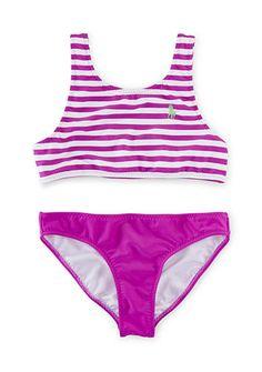 Ralph Lauren Childrenswear 2-Piece Stripe Swimsuit Girls 7-16