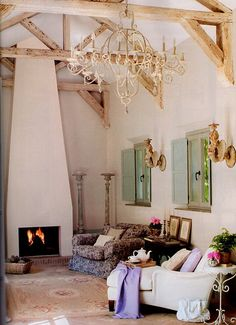 beautiful ceiling, beams and chandelier