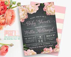 Floral Baby Shower Invitation, Vintage Rustic Peony, Pink and Black Chalkboard Invite, Baby Sprinkle, Gender Reveal - PRINTABLE DESIGN