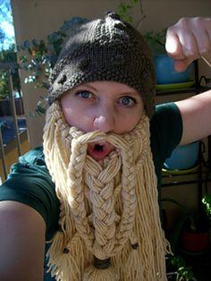 Knitting Pattern Name: Viking Hat Pattern by: Becky VEverka Crochet Gifts, Knit Crochet, Knitting Patterns Free, Crochet Patterns, Free Knitting, Free Pattern, Knitting Projects, Crochet Projects, Crochet Beard Hat
