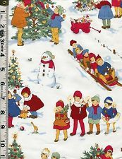 Fabric Henry WINTER WONDERLAND Retro Christmas Tree 50s style kids Snowman sleds
