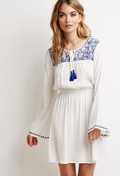 Embroidered Peasant Dress | LOVE21 | #f21contemporary