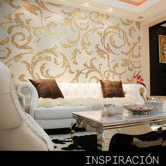 ¡Crea espacios elegantes con papel tapiz! Los muebles y la combinación correcta de colores harán todo.