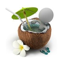Buy Small People Takes a Bath Coconut by AnatolyM on GraphicRiver. small person sitting in a coconut bath under an umbrella.