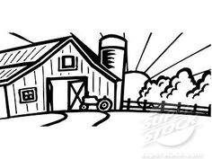 Black and White Cartoon Barn   1149549-Clipart-Of-A-Retro ... Clip Art Pictures Of Farm Houses