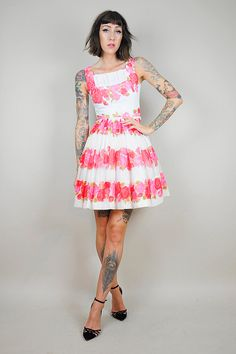 1950's Pink & Red rose watercolor print dress //  NOIROHIO VINTAGE
