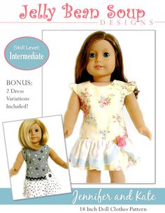 Pixie Faire Jelly Bean Soup Designs Jennifer and Kate Doll Clothes Pattern for 18 inch American Girl Dolls - PDF by PixieFairePatterns on Etsy https://www.etsy.com/listing/159849650/pixie-faire-jelly-bean-soup-designs