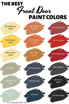 Easily update your home's exterior with a new front door color. These are the best front door paint colors from Sherwin Williams and Benjamin Moore Exterior Door Colors, Front Door Paint Colors, Exterior Front Doors, Painted Front Doors, House Paint Exterior, Paint Colors For Home, Exterior Design, Paint For Front Door, Front Door Painting