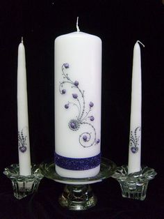 Unity Candle set the Sparkle  with matching tapers
