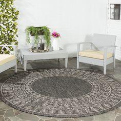 Safavieh Indoor/ Outdoor Courtyard Black/ Beige Rug