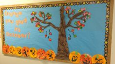 """""""Orange You Glad It's October?"""" is fun idea for a Halloween bulletin display, especially if you combine it with orange pumpkins created by your students.  I'd like to have my students make pumpkin flip books and describe why they like the month of October and display their creative writing assignments along with this fun bulletin board title and theme."""