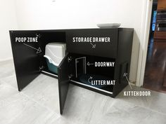 DIY Cat Box Cabinet- evanandkatelyn.com [Absolute must-do DIY! I HATE kitty litter all over the floor, especially with bare feet!]