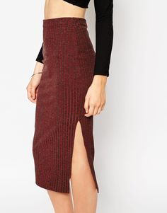 Image 3 ofASOS Pencil Skirt In Textured Rib With Cut Away Side Split