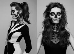 Use black and white face paint to recreate this serious skeleton look.