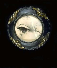 Brooch or button? I've seen buttons with lover's eyes, but brooches are far more common. La Danse Macabre, Antique Jewelry, Vintage Jewelry, Lovers Eyes, Miniature Portraits, Mourning Jewelry, Eye Jewelry, Eye Art, Memento Mori