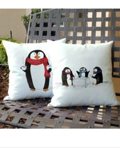 Penguin pillows!! Get ready for winter or share a cup of cocoa with these festive winter pillows   www.carterstuart.com Penguins, Cocoa, Diaper Bag, Festive, Pillows, Winter, Art, Winter Time, Art Background