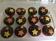 Chocolate star cupcakes.
