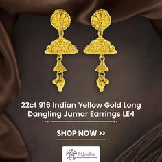 Traditionally known as 'Jhumki', this stunning Hallmarked traditional gold danglings, are exclusively designed and crafted with fine filigree work in combination with a fancy pattern. Temple dome shaped hangings with gold balls attached with it. Shop Now! Diamond Pendant Necklace, Dangle Earrings, Diamond Earrings, White Gold Jewelry, Preston, Filigree, Jewelry Gifts, Ph, Balls