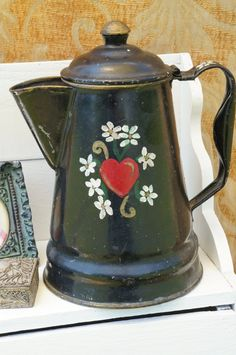 Vintage Black Tin Coffee Pot with Hand by VintageAndLoverly