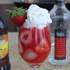 For people who want to try out a super sweet strawberry cocktail, we have this Fresa Freska. This beautiful red mixed drink combines mango rum, vodka, Peach Schnapps, Triple Sec, strawberries and grenadine, and is topped with whipped cream to up those dessert cocktail vibes. Sweet Cocktails, Cocktail Desserts, Mango Rum, Strawberry Cocktails, Strawberry Whipped Cream, Alcholic Drinks, Tipsy Bartender, Peach Schnapps, Triple Sec
