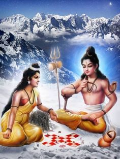 Shiva and Parvati Playing Dice (via Facebook: ShivayaShiva)