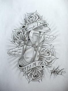 hourglass tattoo idea for Byron Clock Tattoo Design, Tattoo Design Drawings, Tattoo Sketches, Hourglass Drawing, Hourglass Tattoo, Tatuajes Tattoos, Dope Tattoos, Skull Rose Tattoos, Body Art Tattoos