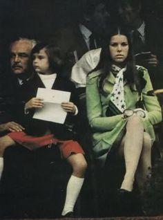 Prince Rainier, Princess Stephanie and Princess Caroline attending the Grand Prix in May 1972