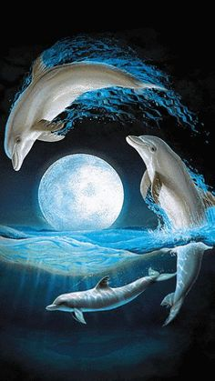 Magnificent Lenox Dolphins At Midnight Jumping Over A Sea Waves Dolphin Painting, Dolphin Art, Water Animals, Animals And Pets, Dolphins Tattoo, Delphine, Beautiful Moon, Ocean Life, Marine Life
