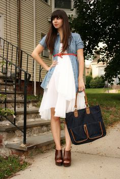 sweet denim/white dress outfit. Buy white dresses at my store: www.stores.ebay.com/dressredress