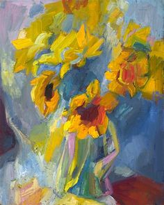 """Sunflowers"" - Original Fine Art for Sale - © Lena Levin Sunflower Canvas, Great Artists, Sunflowers, Art For Sale, Still Life, Nostalgia, Abstract Art, Fine Art, Floral"