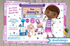 Doc Mcstuffins Birthday Invitation - Custom Disney Junior Doc Mcstuffins