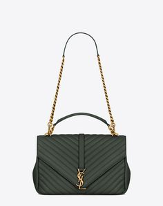 SAINT LAURENT Classic Large Monogram Saint Laurent Collège Bag In Dark Green Matelassé Leather. #saintlaurent #bags #shoulder bags #hand bags #leather #lining #