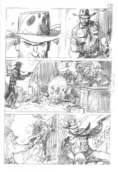 Tex - Pencils by Corrado Mastantuono Comic Book Layout, Comic Books Art, Western Comics, Western Art, Bd Comics, Manga Comics, Character Illustration, Illustration Art, Westerns